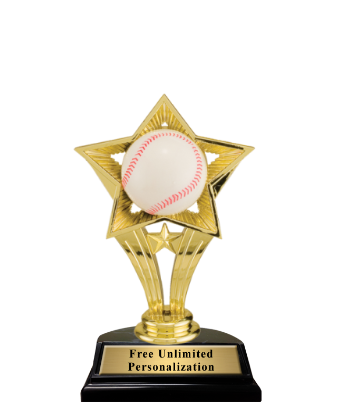 open star baseball trophy