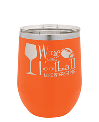 12 oz. Orange Stainless Steel Wine Tumbler