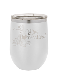 12 oz. White Stainless Steel Wine Tumbler