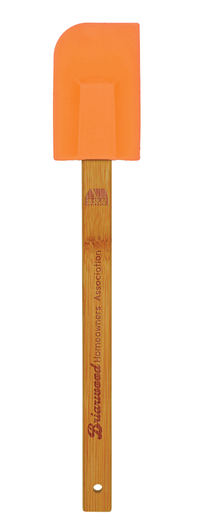Orange Silicone Spatula with Bamboo Handle