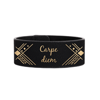 Half-Cuff Black/Gold Leatherette Wristband