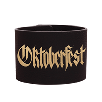 Full-Cuff Black/Gold Leatherette Wristband