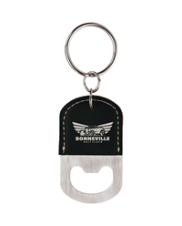Black/Silver Oval Bottle Opener Keychain