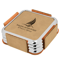 Light Brown Square Coaster Set with Silver Edge