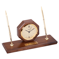 Wanut Octagon Desk Clock with Double Pen