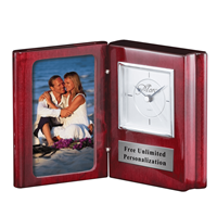 Rosewood Book Clock with Picture Frame