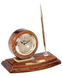 Walnut Circle Desk Clock with Single Pen