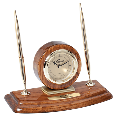 Walnut Circle Desk Clock With Double Pens K2 Awards And Apparel