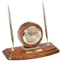 Walnut Circle Desk Clock with Double Pens