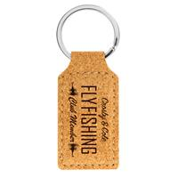Cork Square Keychain with Black Engraving