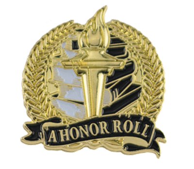 Bright Gold A Honor Roll Lapel Pin