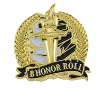 Bright Gold B Honor Roll Lapel Pin