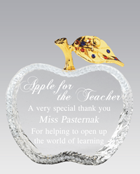 Crystal Apple with Gold Stem