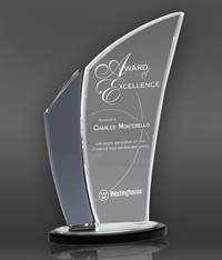 Black Edge Wave Crystal Award
