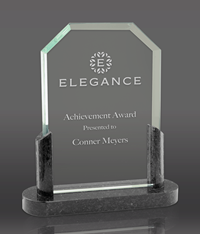 Clipped Glass Award with Black Marble Base