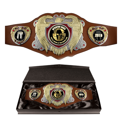 Bright Gold Legion Award Belt with Brown Leather