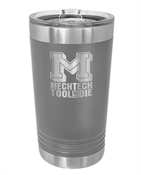 16 oz. Dark Gray Stainless Steel Pint Tumbler