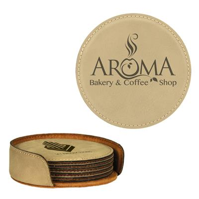Light Brown Round Leatherette 6-Coaster Set