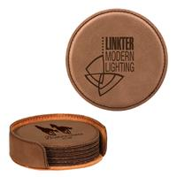 Dark Brown Round Leatherette 6-Coaster Set