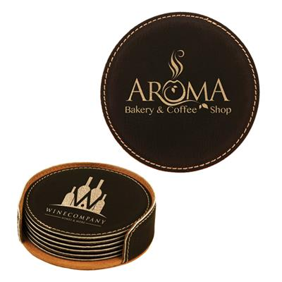 Black/Gold Round Leatherette 6-Coaster Set