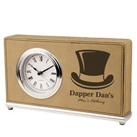 Light Brown Desk Clock with Black Engraving
