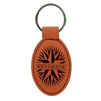 Rawhide Oval Keychain with Black Engraving