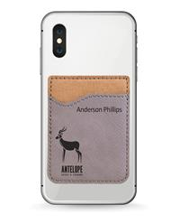 Gray Phone Wallet with Black Engraving