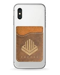 Rustic Phone Wallet with Gold Engraving