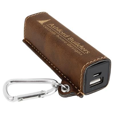 Rustic 2200mAh Power Bank with Gold Engraving