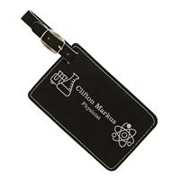 Black Luggage Tag with Silver Engraving