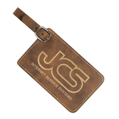 Rustic Luggage Tag with Gold Engraving