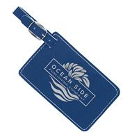 Blue Luggage Tag with Silver Engraving