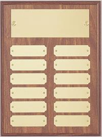 12 Plate Walnut Perpetual Plaque Gold