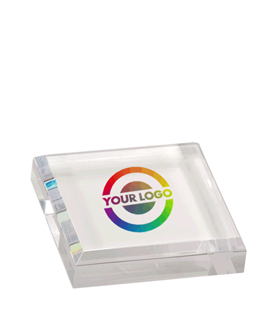 Full Color Square Acrylic Paperweight - Clear