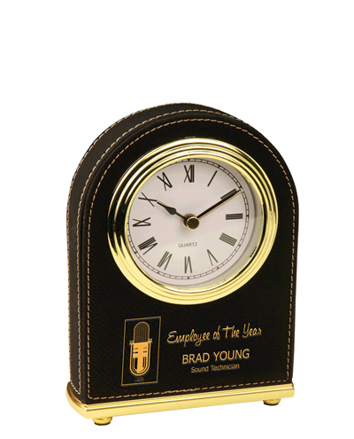 Personalized Leatherette Arch Desk Clock