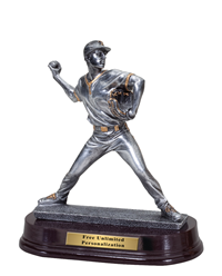 Pewter Finish Baseball Pitcher Trophy