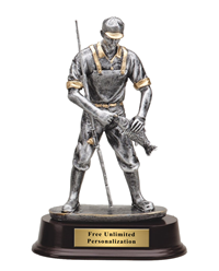 Fisherman Trophy with Gold Accents