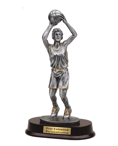 Pewter Finish Basketball Trophy - Female
