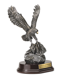 Pewter Eagle Award With Gold Accents