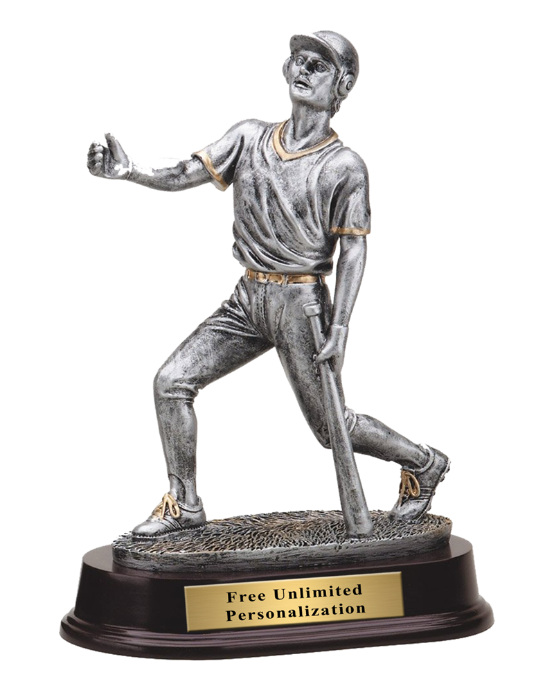 Pewter Finish Baseball Trophy - Male