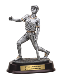 Pewter Finish Baseball Trophy - Female