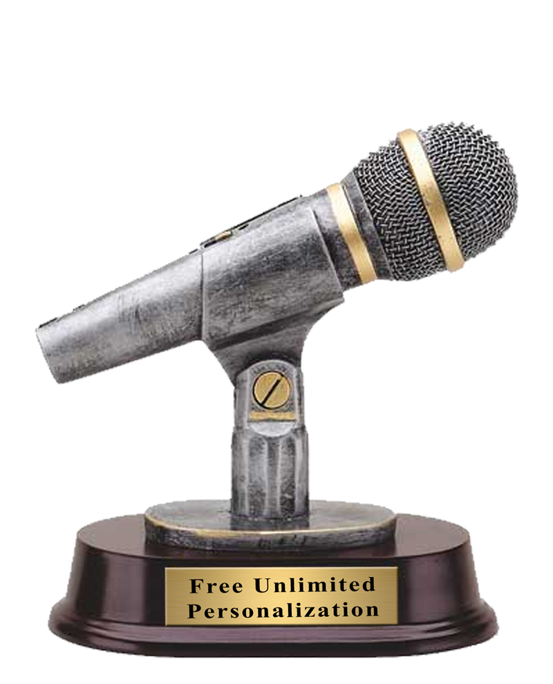 Pewter Finish Microphone Trophy