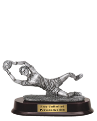 Pewter Finish Soccer Goalie Trophy - Female
