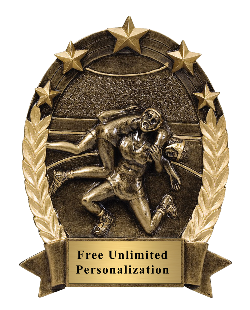 Five Star Oval Wrestling Trophy