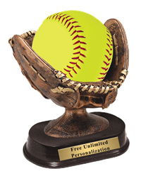 Resin Glove Softball Trophy