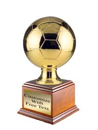 Metalized Soccer Ball on Wood Base - Gold