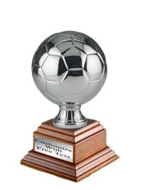 Metalized Soccer Ball on Wood Base - Silver