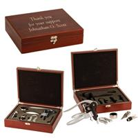 Rosewood Finish 5 Piece Wine Gift Set