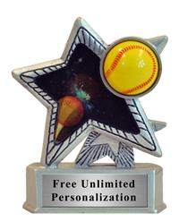 Silver Motion Star Softball Trophy