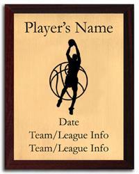 Basketball Silhouette Plaque